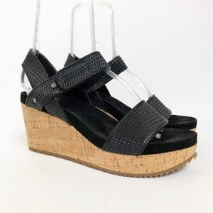Eileen Fisher Demo Leather Mesh Sport Wedge Sandal
